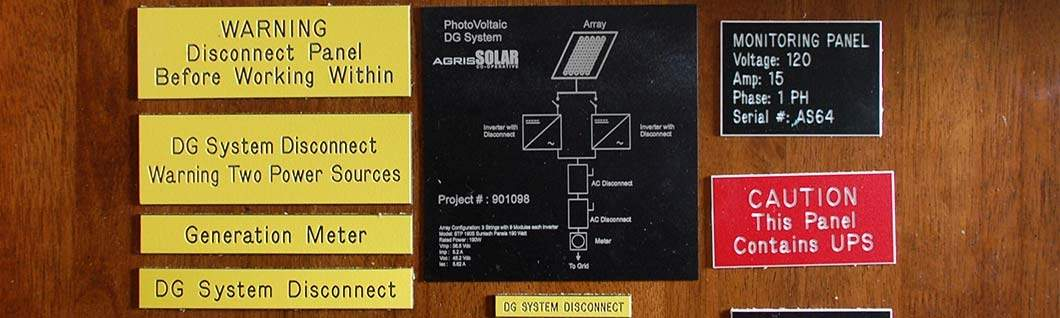 Custom Solar Photovoltaic & Engraved SS Labels, ON